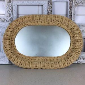 Vintage Bohemian 1980s Oval Rattan Wicker Mirror